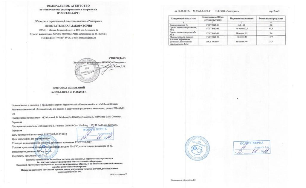 Протокол испытаний облицовочного кирпича Feldhaus Klinker